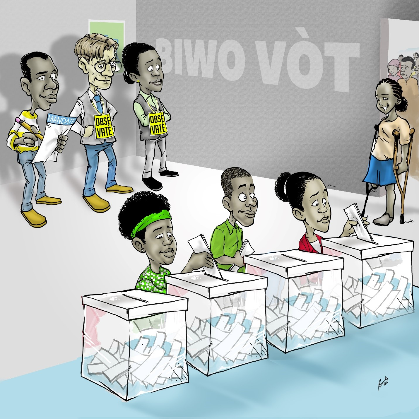 To positively influence the media, IFES released these cartoons to show election observers monitoring voting for elections in Haiti.