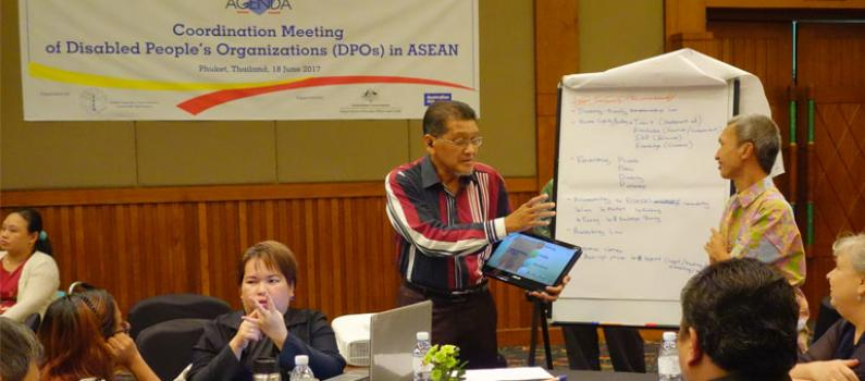 Participants of the DPO Coordination Meeting organized by AGENDA discuss access to justice, disaster risk management, and entrepreneurship.