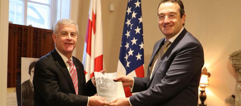 IFES President Presents New Book to Georgian Ambassador in D.C. Featured Image