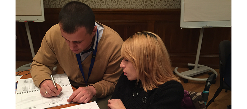 Participants from Moldova draft an advocacy plan.