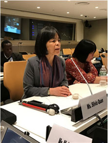 Silvia Quan, a former Vice-Chairperson of the CRPD Committee, speaks on IFES' panel.